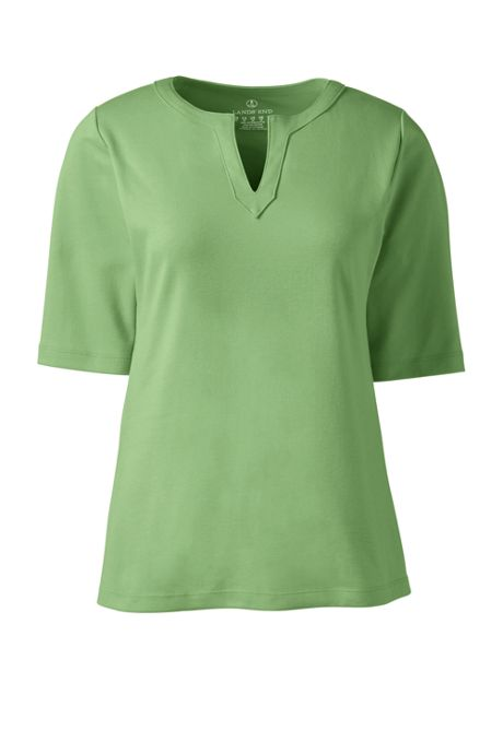 Women's Plus Size Half Sleeve Modern Splitneck