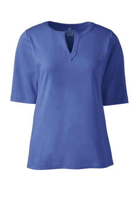 Women's Plus Size Cotton Polyester Modern Half Sleeve Splitneck