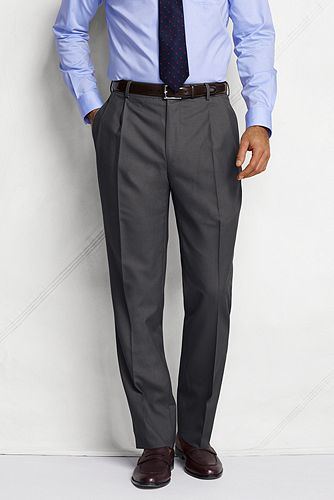 Land's End Pleat Front Tailored Fit Year'rounder Wool Dress Pants 429808