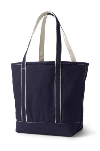 Large Solid Color Open Top Long Handle Canvas Tote Bag