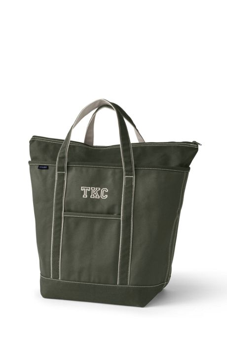 Large Solid Color Zip Top Canvas Tote Bag