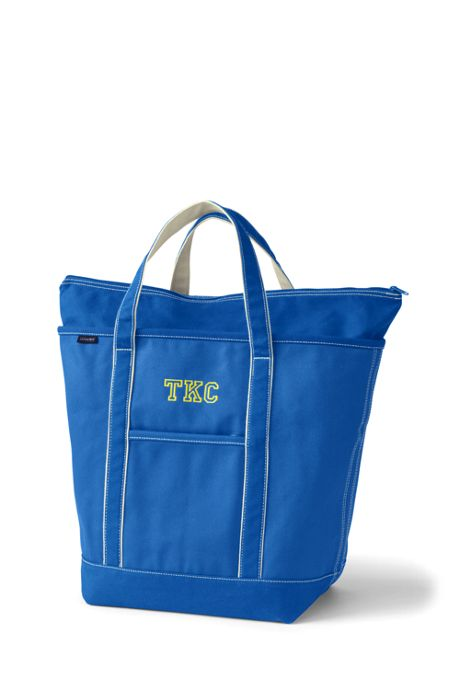 School Uniform Large Solid Color Zip Top Canvas Tote Bag