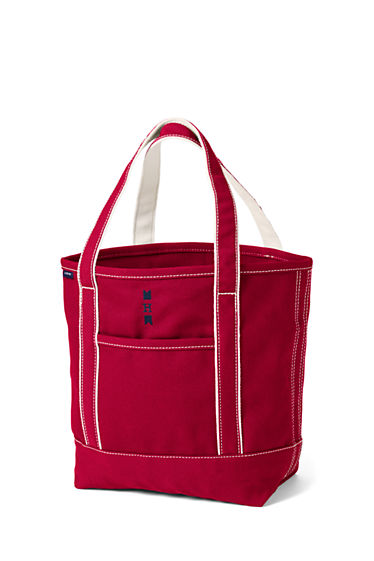 Medium Print Open Top Tote Bag - RED Lands End FevYu