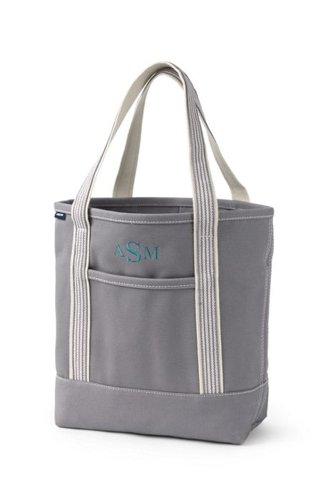 Medium Solid Color Open Top Canvas Tote Bag
