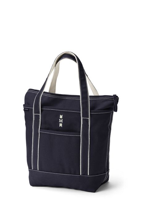 Medium Solid Color Zip Top Canvas Tote Bag