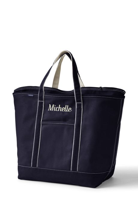 Extra Large Solid Color Zip Top Canvas Tote Bag