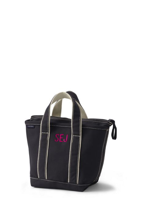 Small Solid Color Zip Top Canvas Tote Bag