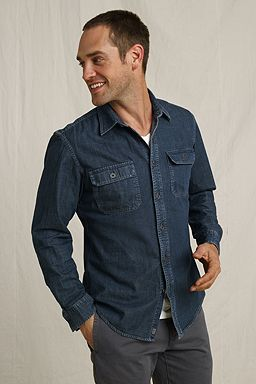 Denim Work Shirt: Rinsed Indigo