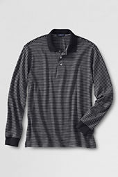 Men's Long Sleeve Stripe Pima Polo Shirt