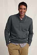 Varsity Shawl Collar Sweatshirt: Charcoal Heather