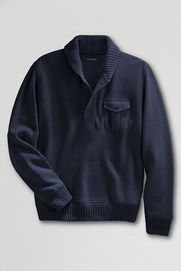 Winter Rib Knit Shawl Collar Pullover: Indigo Blue Heather