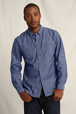 Selvage Chambray Workshirt: Washed Dark Indigo