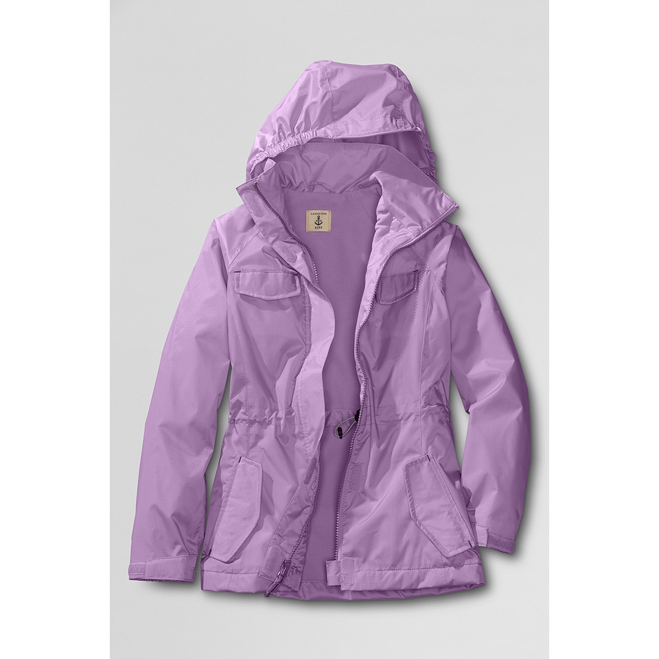 She'll keep warm in the rain with this girls' SO fleece-lined rain jacket, featuring a mixed media construction that is trendy and stylish. In navy blue/gray.