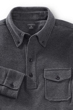 Herringbone Knit Polo Shirt: Charcoal Heather