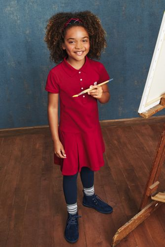 Girls Plus Short Sleeve Mesh Polo Dress