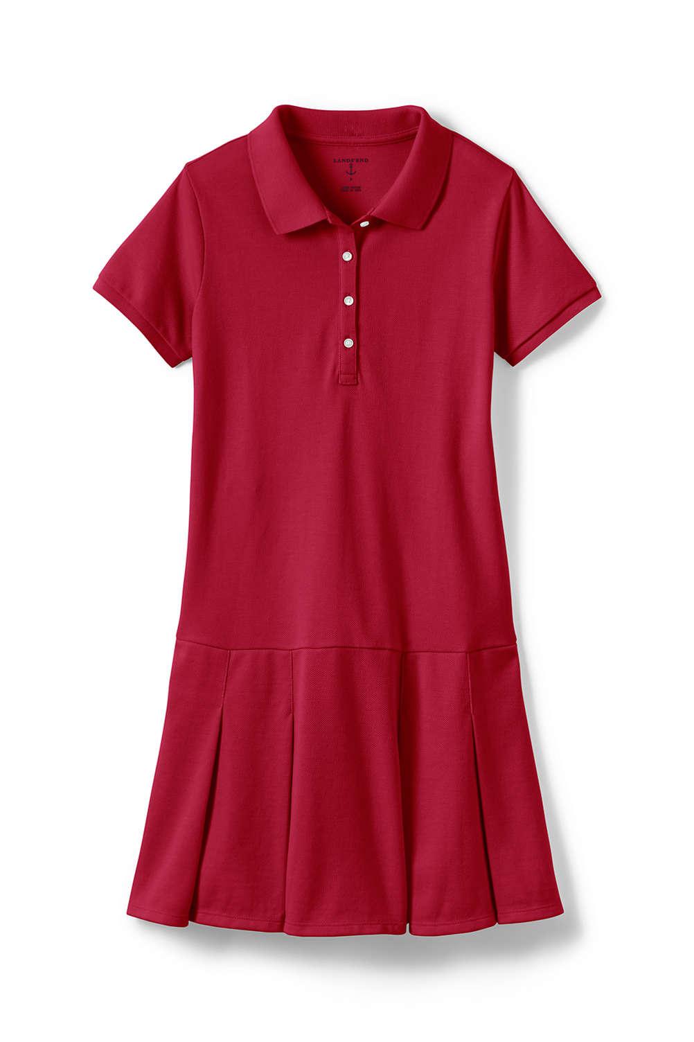 fa1f8b3f54ce School Uniform Girls Short Sleeve Mesh Polo Dress from Lands' End