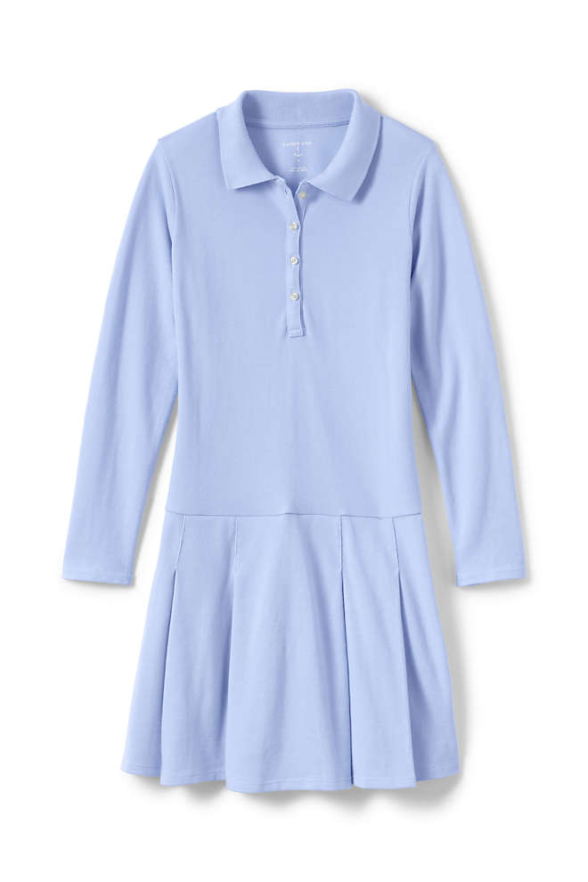School Uniform Little Girls Long Sleeve Mesh Polo Dress, Front