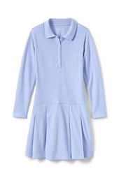 School Uniform Girls' Long Sleeve Mesh Polo Dress
