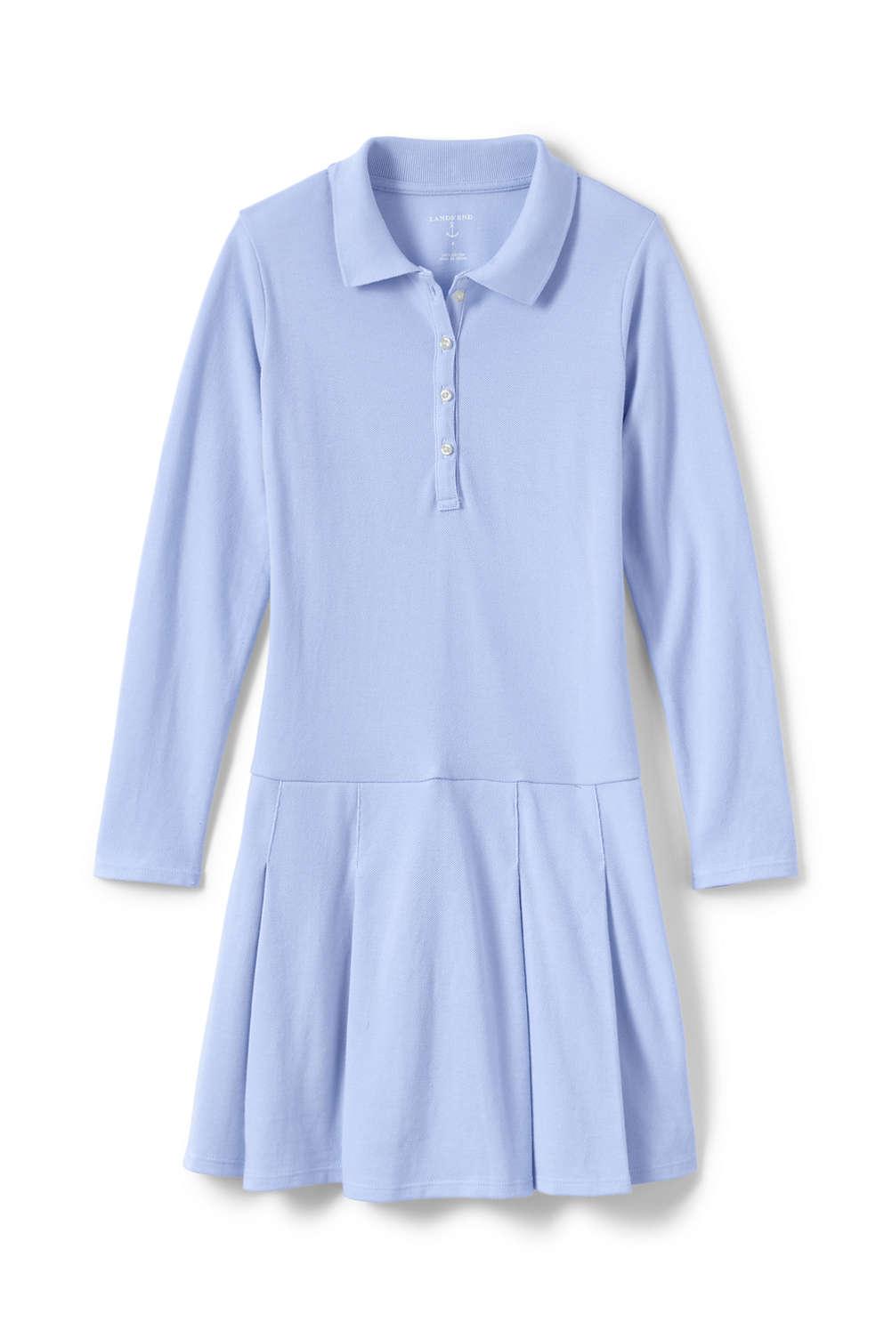 79d2e41a6f81 School Uniform Girls Long Sleeve Mesh Polo Dress from Lands  End