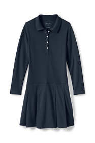 School Uniform Little Girls Long Sleeve Mesh Polo Dress