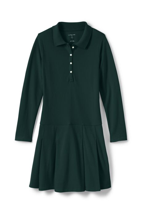 Girls Long Sleeve Mesh Polo Dress