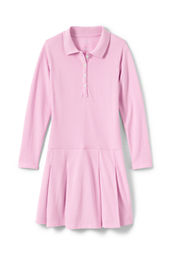 Girls' Long Sleeve Mesh Polo Dress