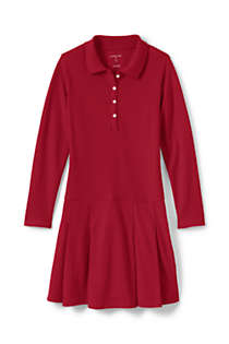Little Girls Long Sleeve Mesh Polo Dress, Front