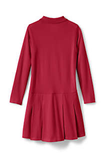 Little Girls Long Sleeve Mesh Polo Dress, Back