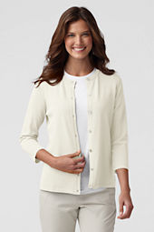 Women's 3/4-sleeve Rayon Nylon Crew Cardigan