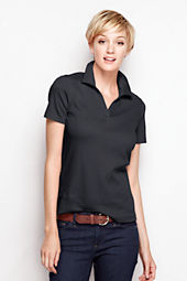 Women's Short Sleeve Interlock Johnny Collar Top