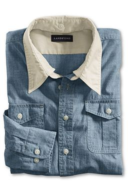 Chambray Removable-collar Shirt: Washed Antique Indigo