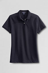Women's Short Sleeve Blue Mesh Polo