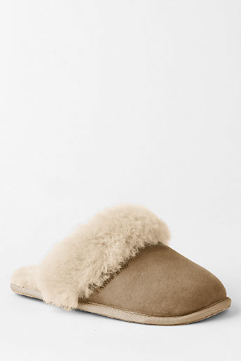 Girls' Shearling Scuff Slippers - Camel, 10