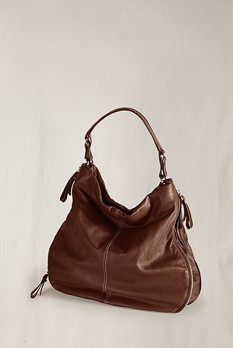 Women's Leather Zip Hobo from Lands' End
