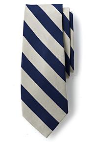 Mens Regular Prep Stripe Silk/Cotton Tie - BLUE Lands End TuQmAujB1r