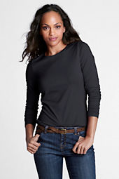 Women's Long Sleeve Fitted Lightweight Cotton Modal Crew T-shirt