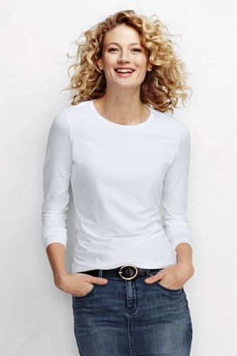Women's Regular Cotton/Modal Plain Crew Neck Tee