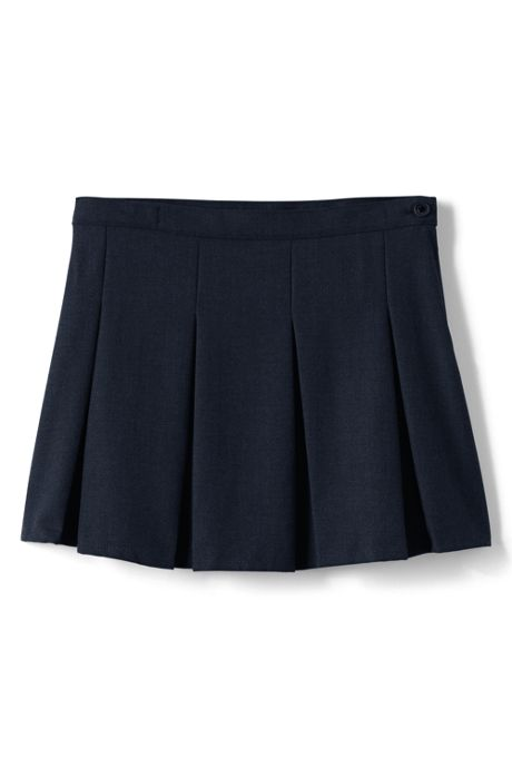 School Uniform Girls Solid Box Pleat Skirt Above Knee