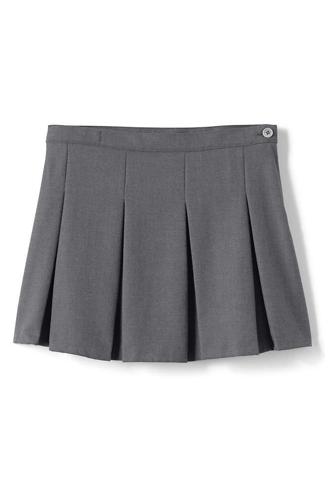 School Uniform Little Girls Solid Box Pleat Skirt Above Knee, Front