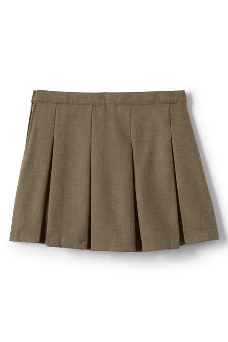 Girls Solid Box Pleat Skirt Above Knee