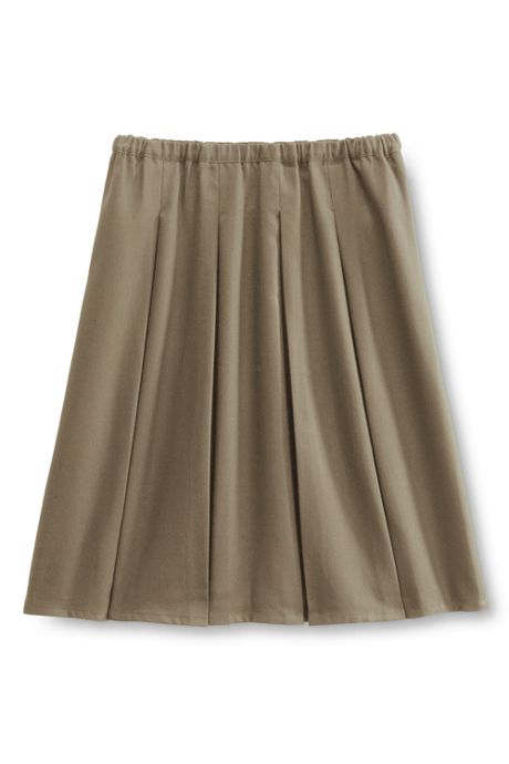 School Uniform Women's Solid Box Pleat Skirt Above Knee