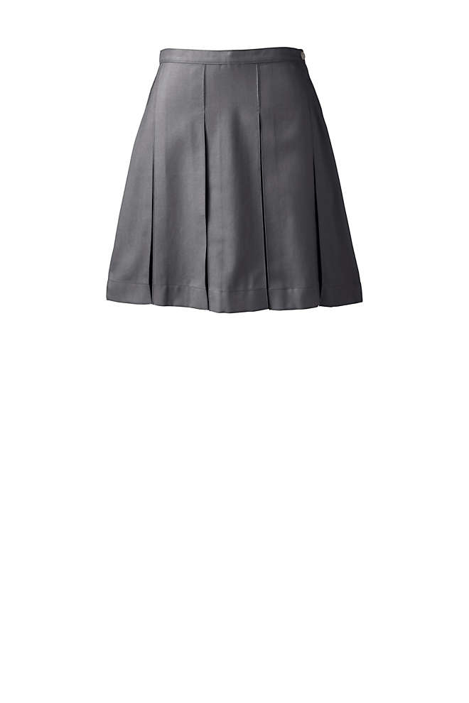 School Uniform Women's Solid Box Pleat Skirt Above Knee, Front