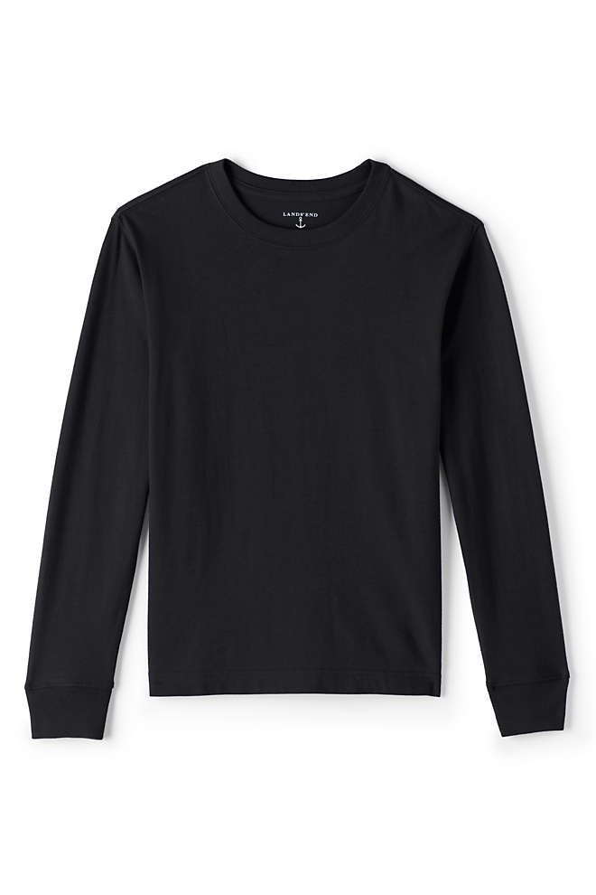 Boys Basic Black Long Sleeve T Shirts