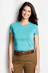 Women's Short Sleeve Fitted Lightweight Cotton Modal Crew T-shirt