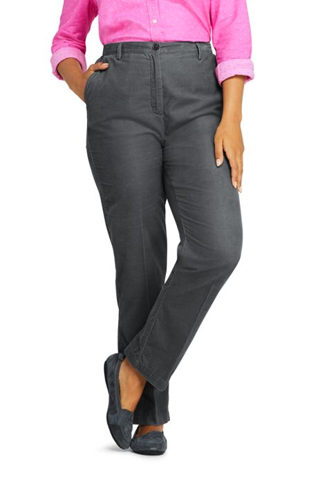 Women's Plus Size Petite 7 Day Elastic Back Corduroy Pants