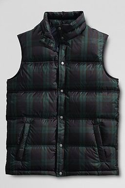 Plaid Down Vest: Black Forest Plaid