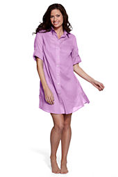 Women's Plus Size Cotton Voile Shirtdress Cover-up