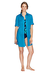 Women's Cotton Voile Shirtdress Cover-up