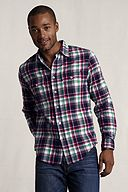 Double Pocket Madras Shirt 401087: Rich Red Plaid