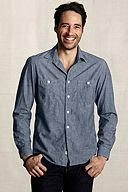 Heritage Striped Chambray Workshirt 401084: Narrow Stripe